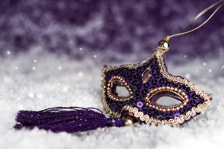 Purple carnival mask with sparkles in the snow