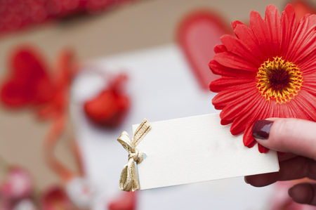 red gerbera, little greeting card with Valentines Day