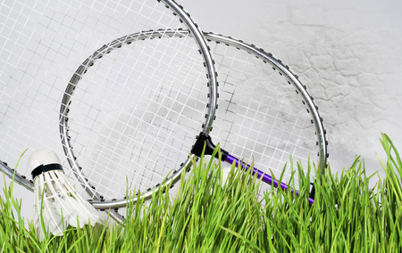 badminton racket against a brick wall background, green grass