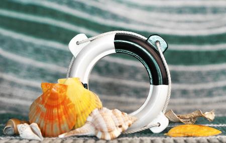 decorative marine decorations, beautiful seashells, life buoy