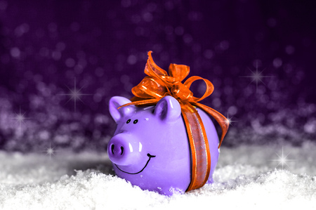 little purple piggy with a Orange bow in the snow