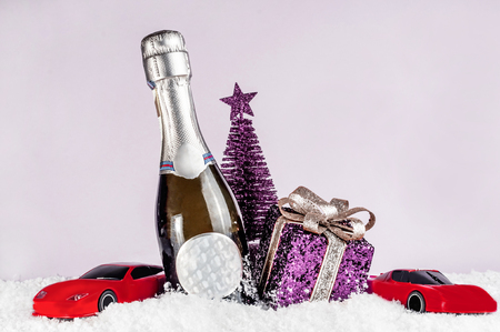 Small decorative champagne bottle, accessories for the holiday
