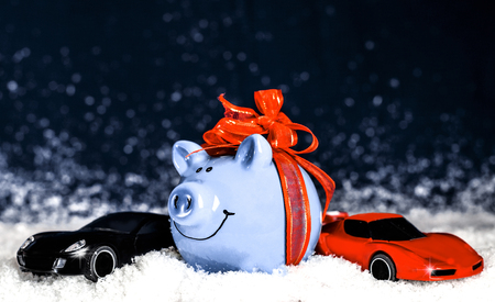 Blue pig with a Orange bow, miniature cars in the snow