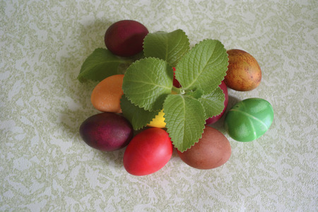 Colorful Colored Easter Eggs Under The Branch Of Fresh Mint And ...