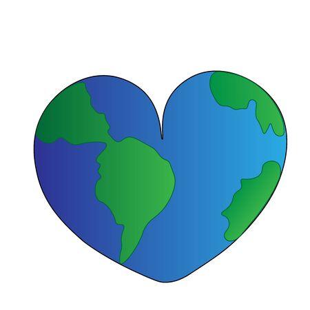 planet earth in the shape of a heart Ilustração