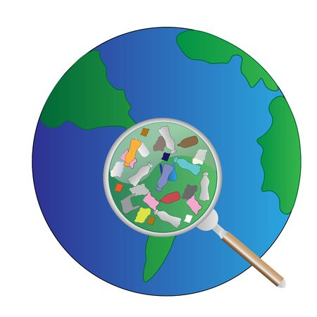 pollution of the planet with plastic Ilustração