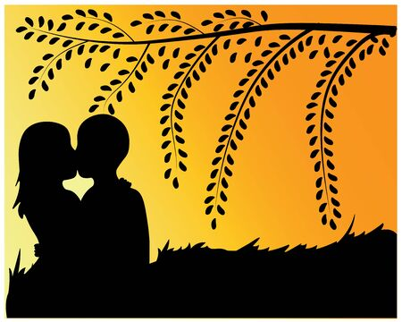 kissing couple under the tree at sunset