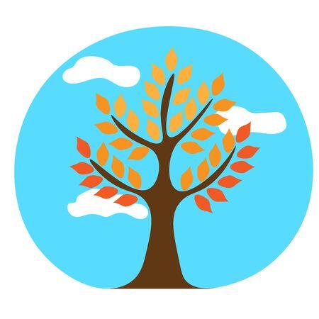 autumn tree against the sky 向量圖像