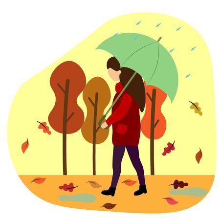 girl under an umbrella in the autumn park
