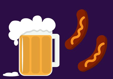 fried sausages with a glass of beer 向量圖像