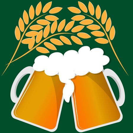 two mugs of beer and spikelets of wheat