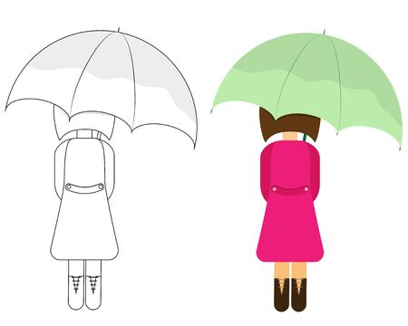 girl under an umbrella and contour silhouette
