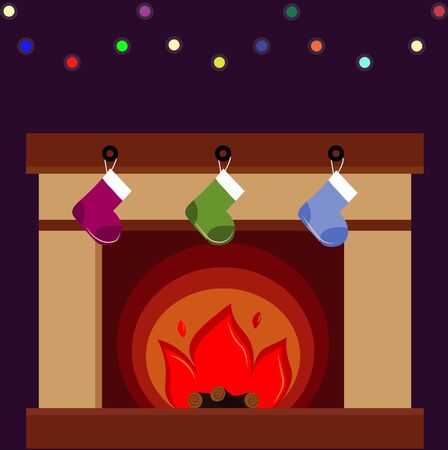 fireplace with socks for gift Banque d'images - 131838051