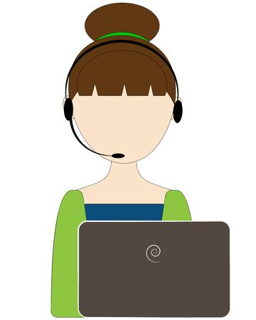girl operator near the laptop Ilustração