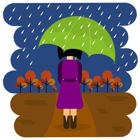 girl in autumn park under an umbrella