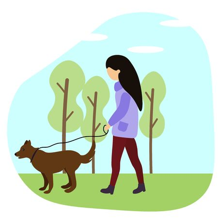 girl walks with a dog in spring Illustration