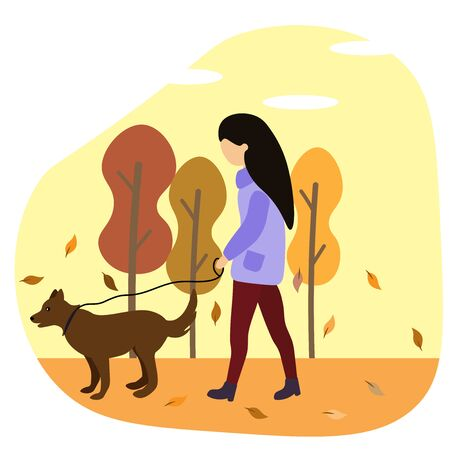 girl walks with a dog in autumn