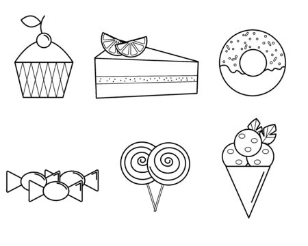 black and white icons of sweets and pastries