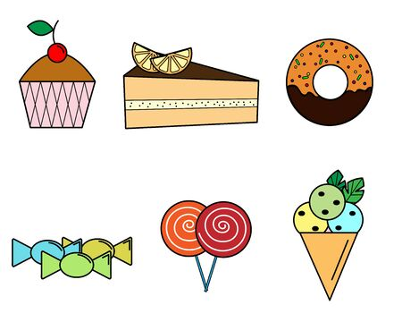 culinary icons of sweets and pastries
