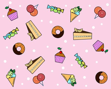 different sweets on the background