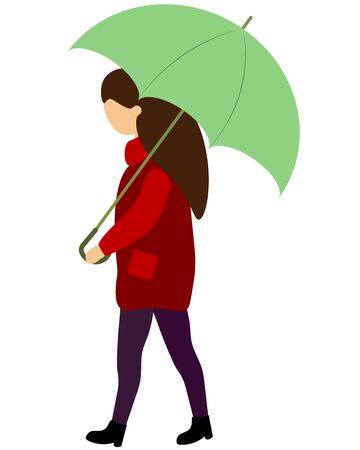 girl in a red jacket under an umbrella