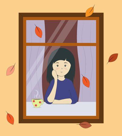 niña mira por la ventana en otoño