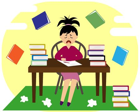 girl at the table with books Illustration