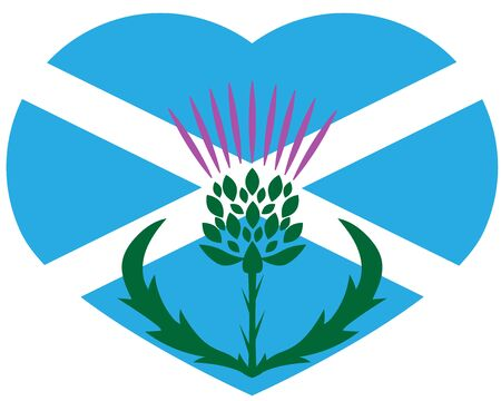 thistle on the background of the flag of scotland