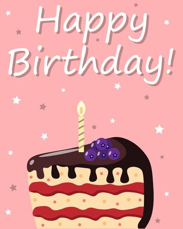 birthday card with cake and candle