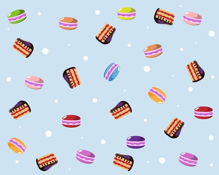 background with cake and macaroons 向量圖像