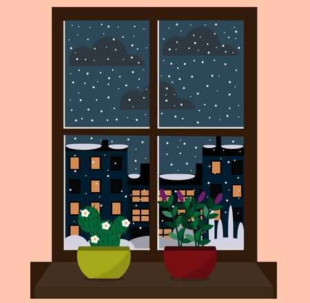 window view of the snowy city