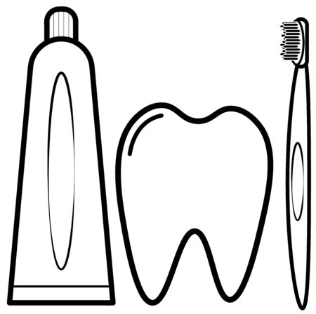 toothbrush with toothpaste and tooth
