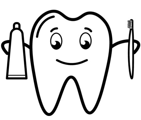 cartoon tooth with toothpaste and brush