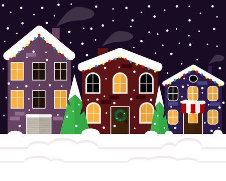 Christmas city on a snowy night