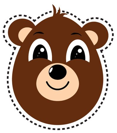 brown bear head happy isolated Illustration