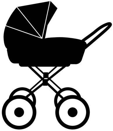 black and white silhouette of a stroller