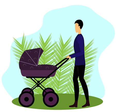 dad walks with a stroller