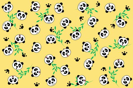 funny panda faces muzzle seamless pattern