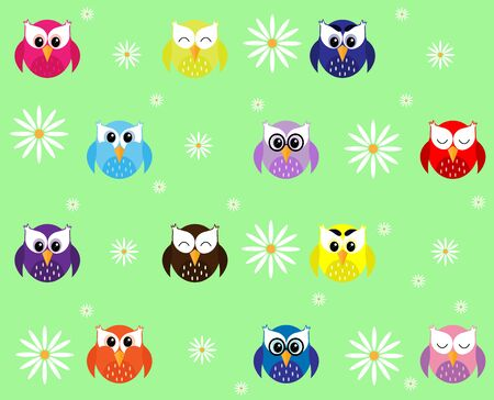 multi-colored owls with white daisies Иллюстрация