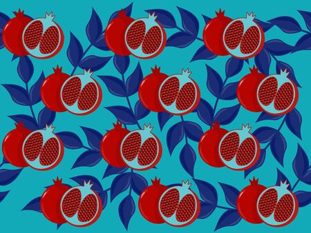 pomegranate pattern with blue leaves