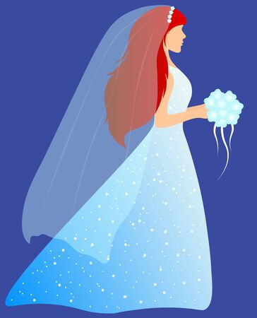 bride in blue dress with rhinestones