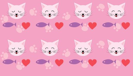 pink pattern with cats and fish