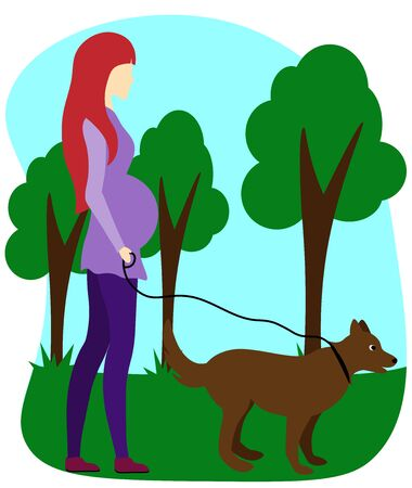 pregnant woman walks with a dog