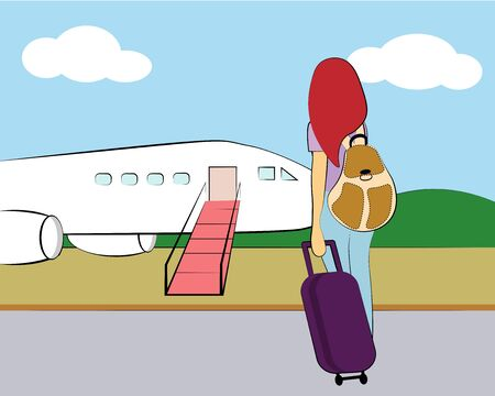girl with luggage near the plane
