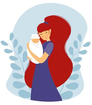 mother with a newborn baby Иллюстрация