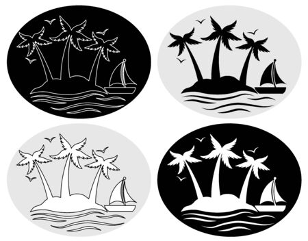 set of icons with palm trees and a sailboat