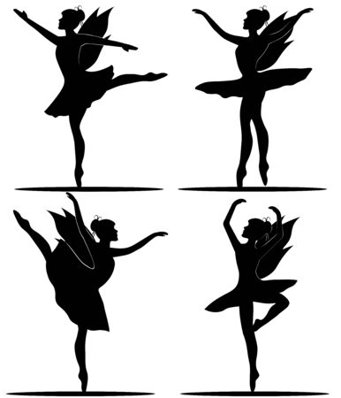 black and white set of dancing fairies ballerinas