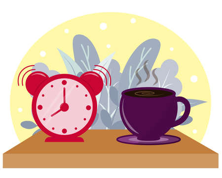 coffee and alarm clock on the table