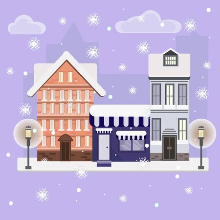 Flat design concepts of winter holidays, Merry Christmas, town in snow Vector illustration. Christmas city. Ilustração