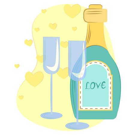 Vector illustration bottle of champagne and two glasses, on a yellow background with globes. vector composition for the holidays.